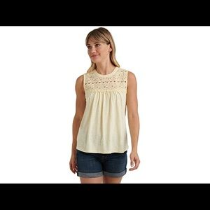 Lucky Brand Sleeveless Embroidered Shiffly Top